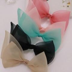 오간자 왕리본 머리핀 곱창 머리 자동핀 5color