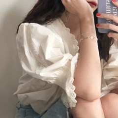 [92.5 silver] Heart cutting bracelet (Italy)