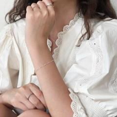 [92.5 silver] Heart chain bracelet