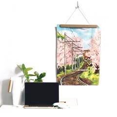패브릭 포스터 - 벚꽃 기차길