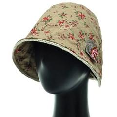 [플릭앤플록]ICU06.잔꽃나염 꽃장식 여성 벙거지 모자