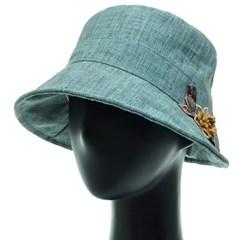 [플릭앤플록]ICU04.린넨 꽃장식 여성 벙거지 모자