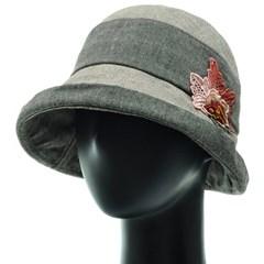 [플릭앤플록]ICU02.톤온톤 꽃장식 여성 벙거지 모자