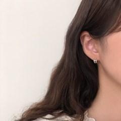 [92.5 silver] Double line earring