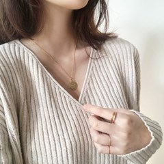 [92.5 silver & 14k gold plated] Oval coin necklace
