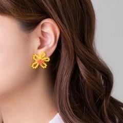 꽃 크리스탈 귀걸이