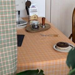 온더소프트오렌지체크 식탁보 테이블보 2size 테이블러너