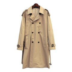 stitch double trench coat (beige)