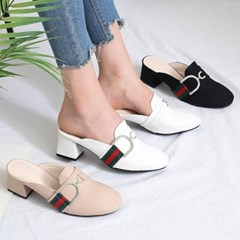kami et muse Cubic chain heel slippers_KM19w348
