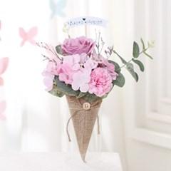 [데코봉봉]플라워 아이스크림콘 꽃다발(핑크)