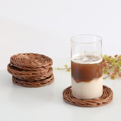 라탄 짜임 컵받침 우드 티코스터