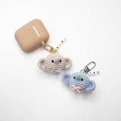 코끼리 손뜨개 키링 휴대폰줄 브로치 인형