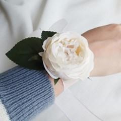 브라이덜샤워소품 피오니 화이트 꽃팔찌