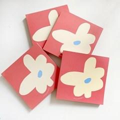 flower memo pad_red