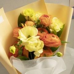꽃선물 오렌지 라넌큘러스 꽃다발 M (생화, 전국택배)