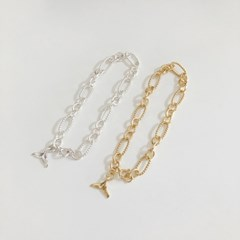 [92.5 silver & 14k gold plated] Whale tail bracelet (2 colors)
