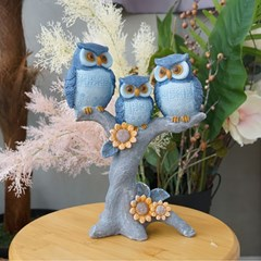 나무위 블루 부엉이 가족 (08469)