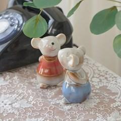 도자기 마우스 커플 장식 2P 소
