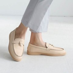 kami et muse Gold lock pendent leather loafers_KM19w384