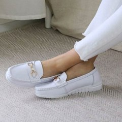 kami et muse White outsole chain leather loafers_KM19w394