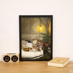 [A3 포스터, 캔버스액자] 고양이와 라떼