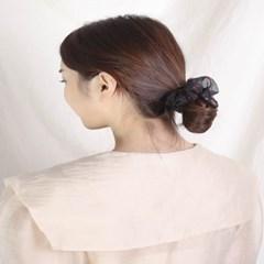 [블루밍데이] 패턴 헤어슈슈 곱창머리끈_블랙(AGHT0302HBBD)