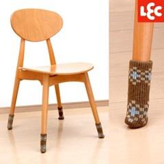 [LEC] 논슬립 니트 의자다리커버 8P(체크브라운) [O-633]