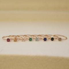스퀘어원석 반지 - 피치문스톤