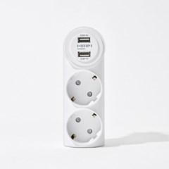 [한샘] USB 2포트 2구 일자 어댑터(2종택1)_(1527613)