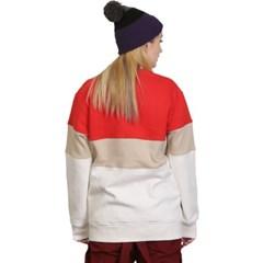 슈가포인트 남녀공용 맨투맨 기모안감 티셔츠 SCONE - RED COMBO