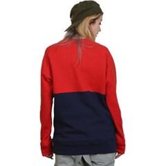 슈가포인트 여성용 맨투맨 기모안감 티셔츠 GRETA - RED/NAVY