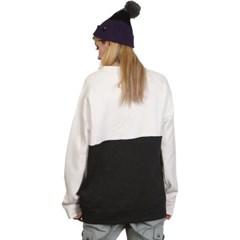 슈가포인트 여성용 맨투맨 기모안감 티셔츠 GRETA - WHITE/D.GREY