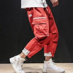 [1+1] 남자 스트릿 밑단 배색 와이드핏 카고 포켓 팬츠 바지
