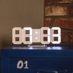 오리엔트 3D입체 화이트LED 디지털탁상시계 밝기조절 벽탁상겸용