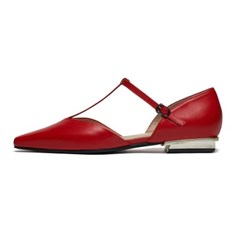 T-strap flat - red