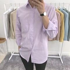 어깨넓어보이는 파스텔 컬러 루즈핏 기본 면 셔츠남방
