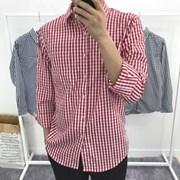 어깨넓어보이는 루즈핏 체크 면 포켓 캐주얼 셔츠남방