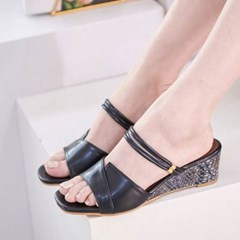 kami et muse Color point middle wedge strap slippers_KM20s030