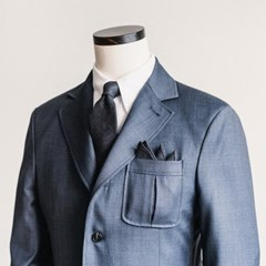 CRS CHECK LINEN POCKET SQUARE & TIE (navy)