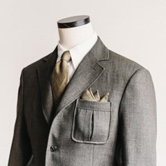 CRS CHECK LINEN POCKET SQUARE (khaki)