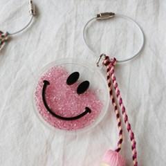 파스텔 테슬 블링 투명 스마일 열쇠 백참 키링 (2color)