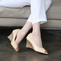 kami et muse Toe open leather wedge heel pumps_KM20s048