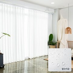 [맞춤기장]린넨레시피 나비주름  발수 화이트 암막커튼_(2585797)