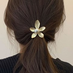 봄 꽃 방울 진주 메탈 올림 머리끈