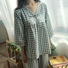 리본 노카라 봄 잠옷 환절기 파자마