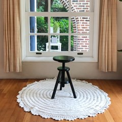 프로방스 거실 침실 원형 면 러그 120x120cm_(1773149)