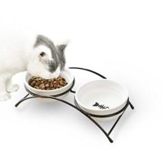 5H펫 철제 애견식기 2구 강아지 고양이 밥그릇