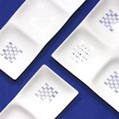 한국도자기 블루스케치 2칸 3칸 4칸 사각 나눔접시