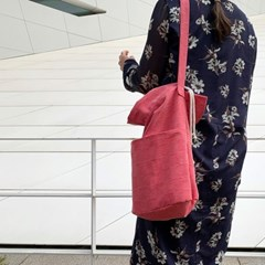 waffle cotton bucketbag_cherry red