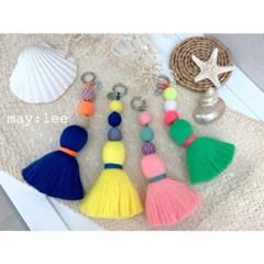 심플 태슬 패션 블루 옐로우 핑크 키링